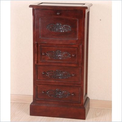 International Caravan Carved Wood 3-Drawer Bureau with Drop Leaf