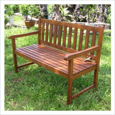 International Caravan 4 Foot Oudoor Wooden Patio Bench