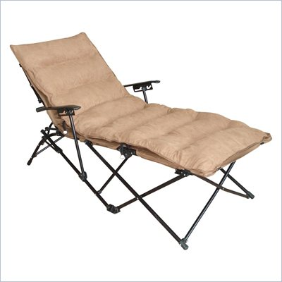 International Caravan Foldable Chaise Lounge in Saddle Brown
