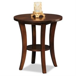 Leick Boa Round End Table in Chocolate Cherry