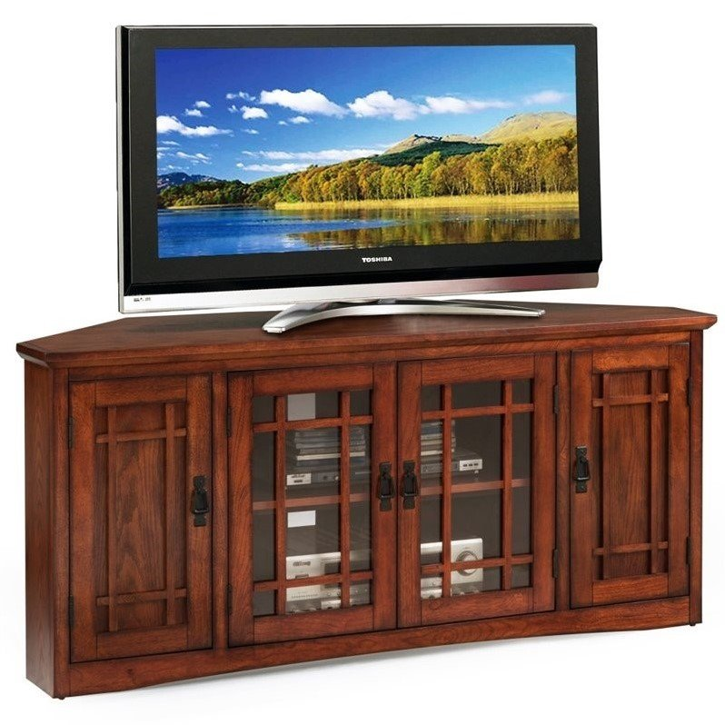 Leick 56 Corner TV Stand in Mission Oak