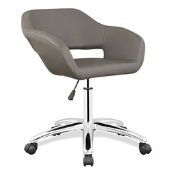 Leick Favorite Finds Faux Leather Upholstered Office Chair in Gray