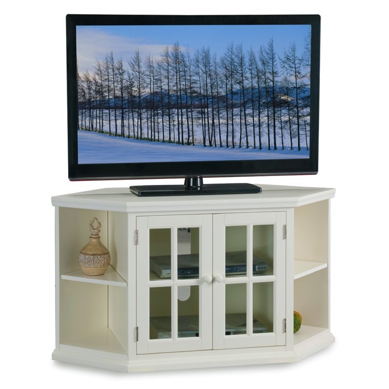 Leick Riley Holliday 46 Corner TV Stand with Bookcases in White