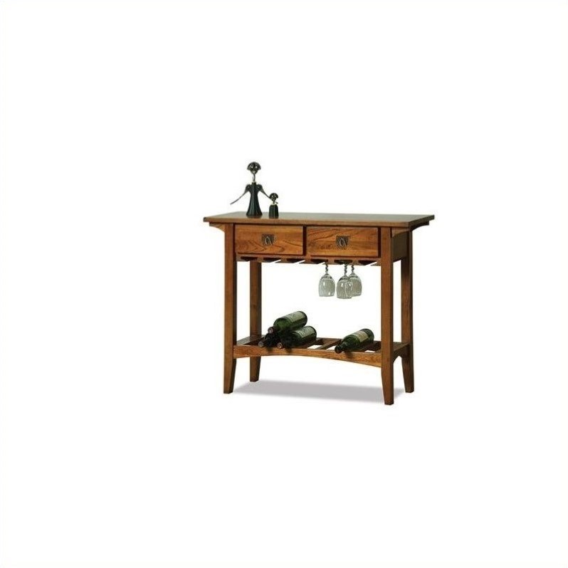 Leick Furniture Mission Wine Table with Storage Drawers in Russet