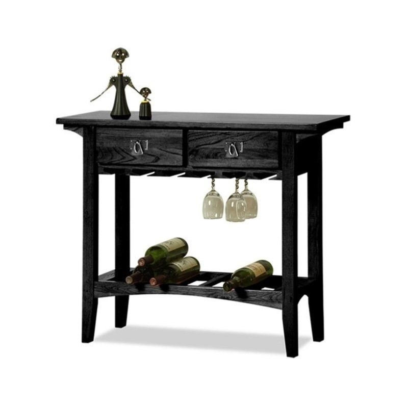 Leick Furniture Mission Wine Stand with Storage Drawers in Black