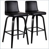 Leick Furniture Upholstered Counter Height Stool in Black (Set of 2)