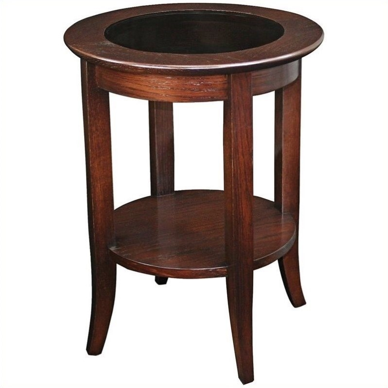 Solid Wood Round Glass Top End Table in Chocolate Oak