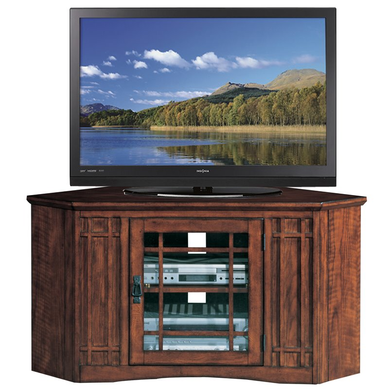 Leick Furniture Mission 46 Corner TV Stand in an Oak Finish