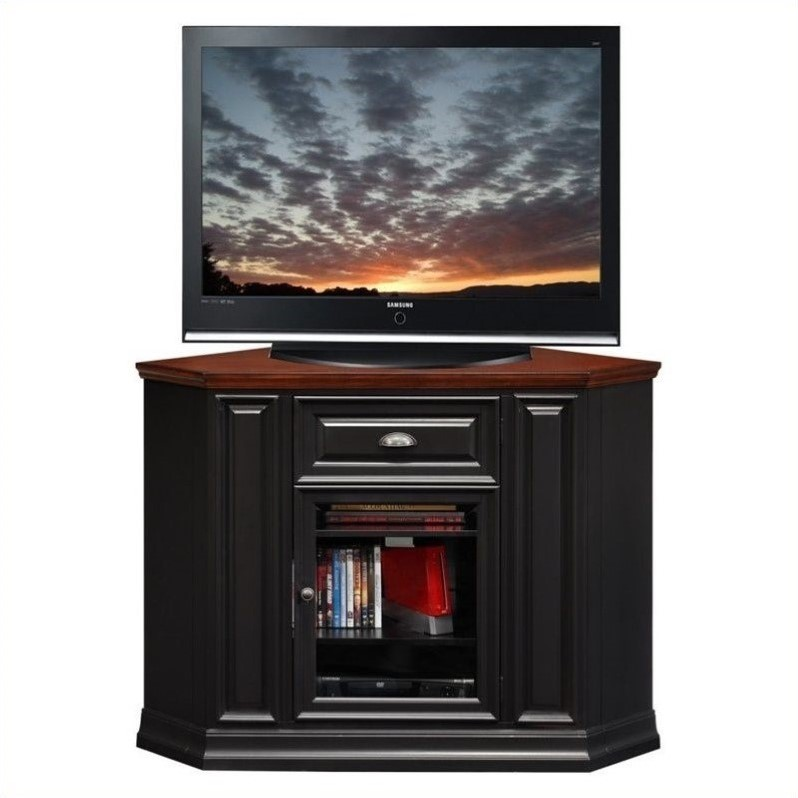 Leick Furniture 46 Corner TV Stand in Black and Cherry