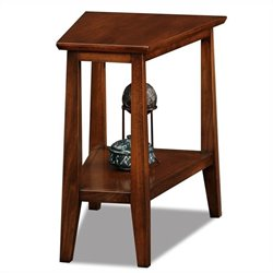 Leick Delton Triangle Solid Wood End Table in Sienna Finish