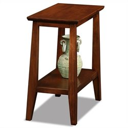 Leick Delton Narrow Chairside Solid Wood End Table in Sienna