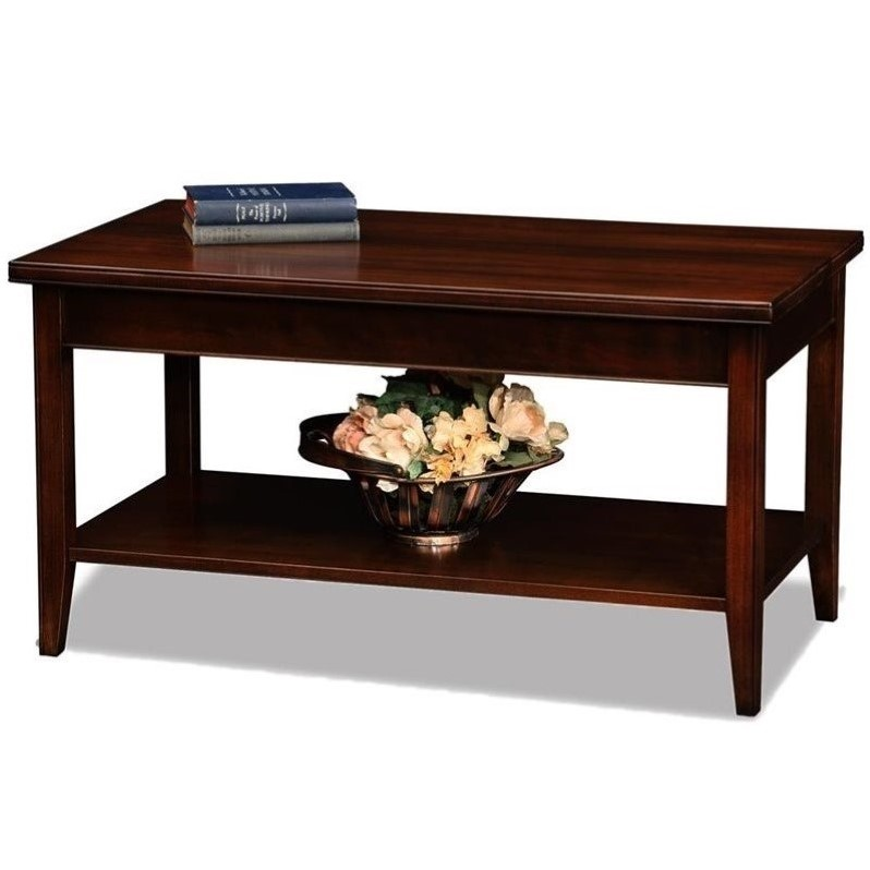 Leick laurent small solid wood coffee table in chocolate cherry ebay Cherry wood coffee tables
