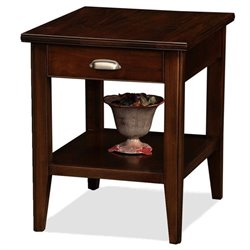 Leick Furniture Laurent Solid Wood Square End Table in Chocolate Cherry