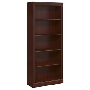 Kathy Ireland Office by Bennington 5 Shelf Bookcase in Harvest Cherry
