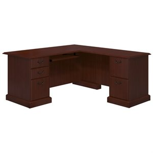 Kathy Ireland Office by Bennington L-Desk in Harvest Cherry