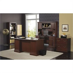 Kathy Ireland by Bush Bennington 5 Piece Office Set in Harvest Cherry