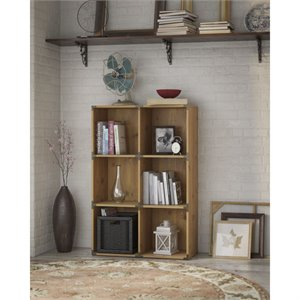 kathy ireland Office Ironworks 6 Cube Bookcase in Vintage Golden Pine