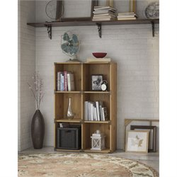 Kathy Ireland by Bush Ironworks 6 Cube Bookcase in Golden Pine