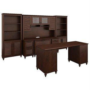 kathy ireland Volcano Dusk Double Pedestal Desk Office Suite in Cherry