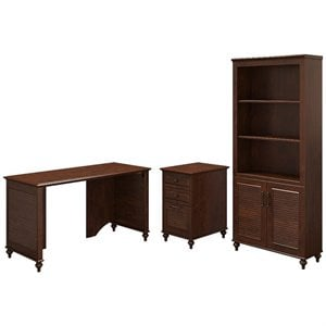 Kathy Ireland by Bush Volcano Dusk 3 Piece Office Set in Cherry