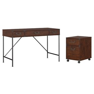 kathy ireland Office Ironworks 48W Writing Desk and Pedestal in Cherry
