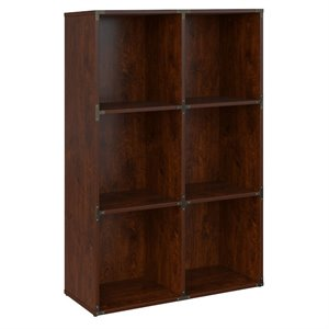 kathy ireland Office Ironworks 6 Cube Bookcase in Coastal Cherry
