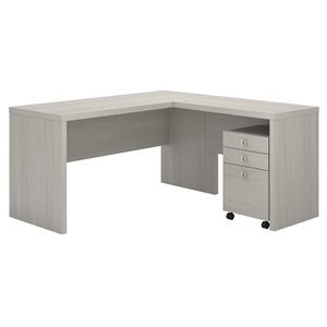 kathy ireland Echo L Shaped Desk with Mobile File Cabinet in Gray Sand