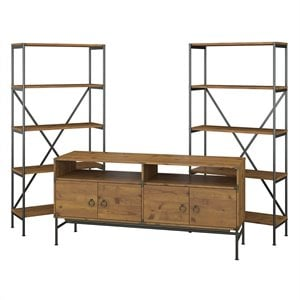 kathy ireland Ironworks 60W TV Stand with Bookcases in Golden Pine