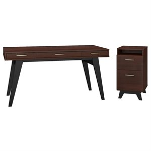 Office by kathy ireland Centura 60W Writing Desk with 2 Drawer File Cabinet