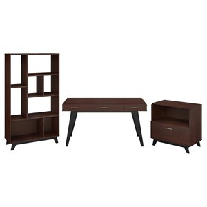 Office by kathy ireland Centura 60W Writing Desk with File Cabinet and Bookcase