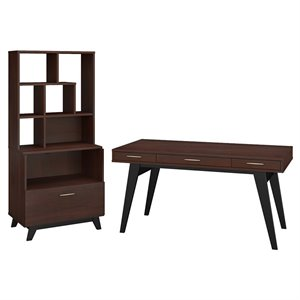 Office by kathy ireland Centura 60W Writing Desk with File Cabinet and Hutch