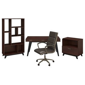 Office by kathy ireland Centura 60W Writing Desk with Storage and Leather Chair
