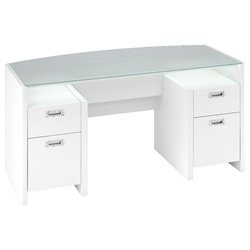 Kathy Ireland Office by Bush Furniture New York Skyline Bow-Front Desk in Plumeria White