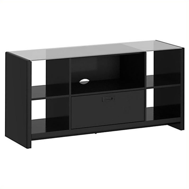 New York Skyline Credenza TV Stand in Modern Mocha