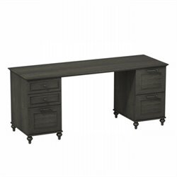 Kathy Ireland by Bush Volcano Dusk Double Pedestal Desk in Kona Coast