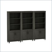 Kathy Ireland by Bush Volcano Dusk Wall Bookcase with Doors in Kona Coast Finish