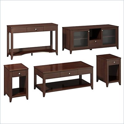 "Kathy Ireland by Bush Grand Expressions Work-'N-Play Family Suite with 58"" TV Stand in Warm Molasses"