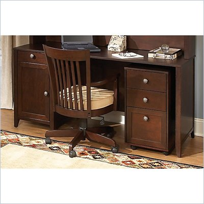 "Kathy Ireland by Bush Grand Expressions 66"" Desk with 3 Drawer Mobile Filing Cabinet in Warm Molasses"