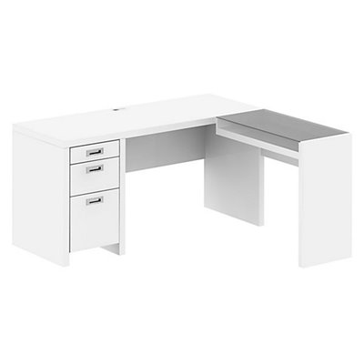 Kathy Ireland by Bush New York Skyline L-Shape Desk in Plumeria White