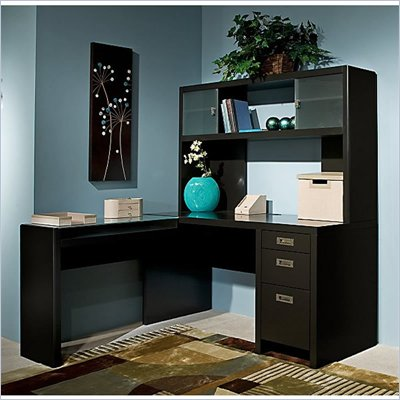 Kathy Ireland by Bush New York Skyline L-Shape Desk with Hutch Office Set in Modern Mocha