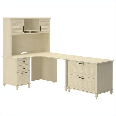Kathy Ireland by Bush Volcano Dusk Home Office L-Desk Set