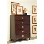 angelo:HOME Marlowe 5 Drawer Chest in Black and Chocolate Brown