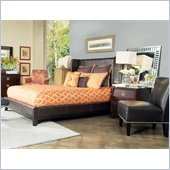 angelo:HOME Marlowe Chocolate Bonded Leather Shelter Bed 2 Piece Bedroom Set