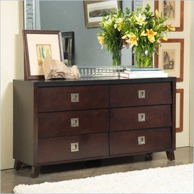 angelo:HOME Marlowe 6 Drawer Double Dresser in Black and Chocolate Brown
