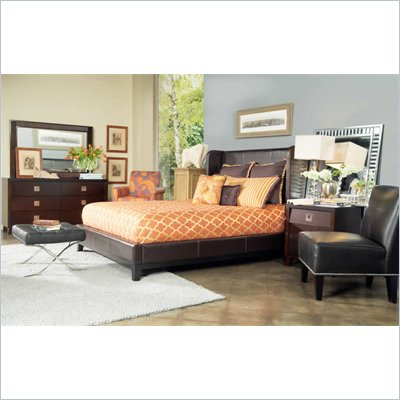 angelo:HOME Marlowe Chocolate Bonded Leather Shelter Bed 4 Piece Bedroom Set