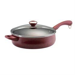 Paula Deen Signature Porcelain Saute Pan in Speckled Red