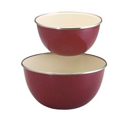 Paula Deen Signature Enamel on Steel 2 Piece Mixing Bowl Set in Red