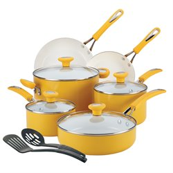 SilverStone Ceramic CXi 12 Piece Cookware Set in Mango Yellow