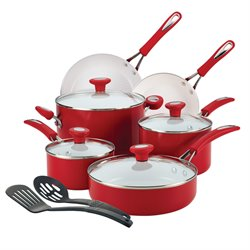SilverStone Ceramic CXi 12 Piece Cookware Set in Chili Red