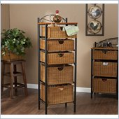 Holly & Martin Argyle Iron/Wicker Five-Drawer Unit in Painted Black